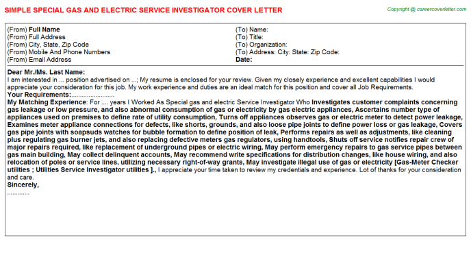 Special Gas And Electric Service Investigator Cover Letter Template
