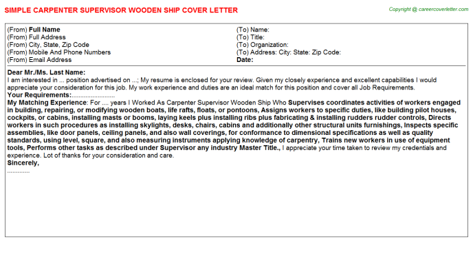 Carpenter Supervisor Wooden Ship Job Cover Letter Template