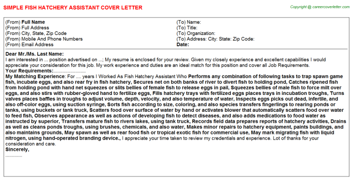 fish hatchery assistant cover letter template