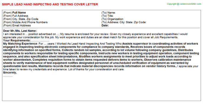 Lead Hand Inspecting And Testing Job Cover Letter Template