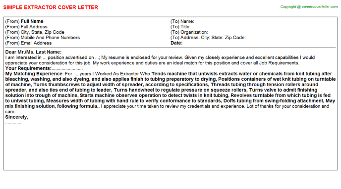 Extractor Job Cover Letter Template