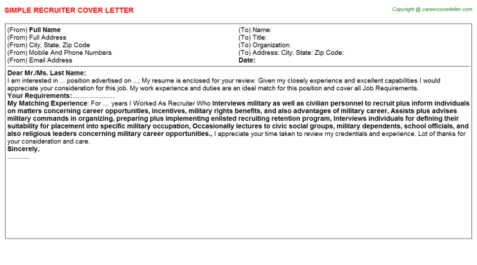 Recruiter Cover Letter Template
