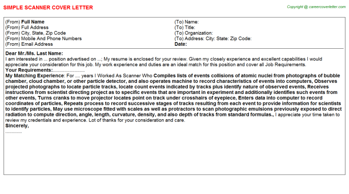 Scanner Cover Letter Template