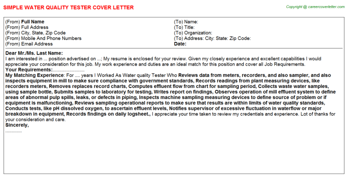 water quality tester cover letter template