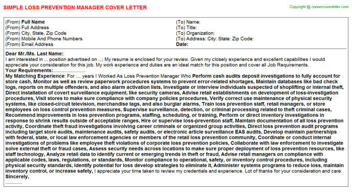 Loss Prevention Manager Job Cover Letter Template