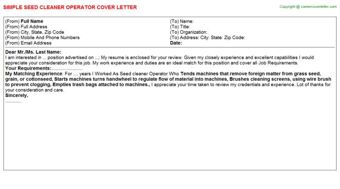 Seed cleaner operator job cover letter (#11417)