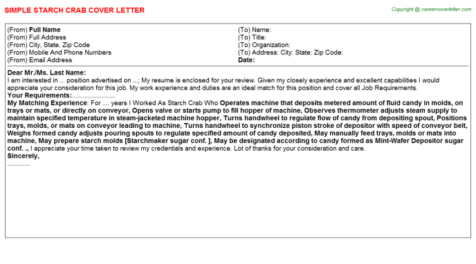 starch crab cover letter template
