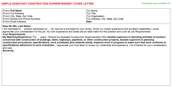 Assistant Construction Superintendent Cover Letter Template