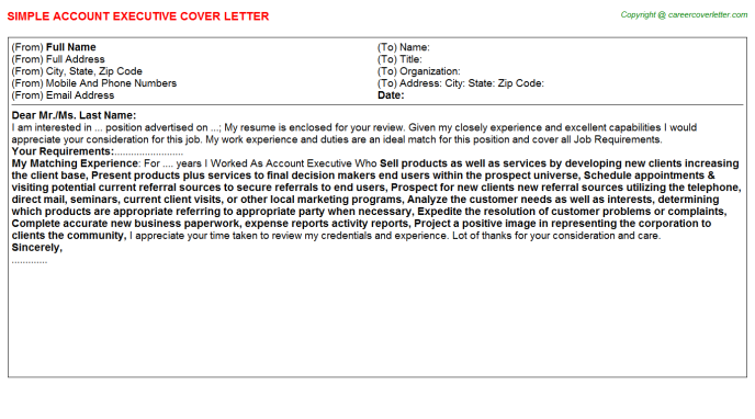Account Executive Cover Letter Template