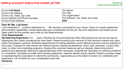 Account Executive Job Cover Letter Template