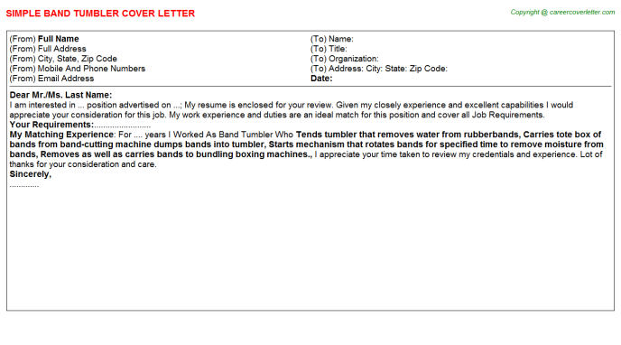 band tumbler cover letter template