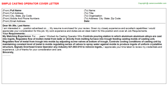 Casting Operator Job Cover Letter Template