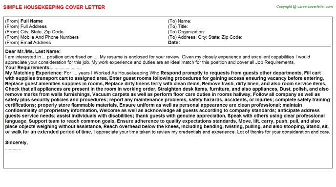 Housekeeping Cover Letter Template