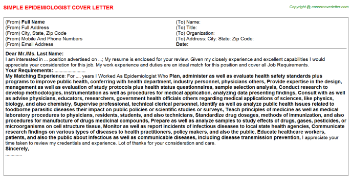 Epidemiologist Job Cover Letter Template