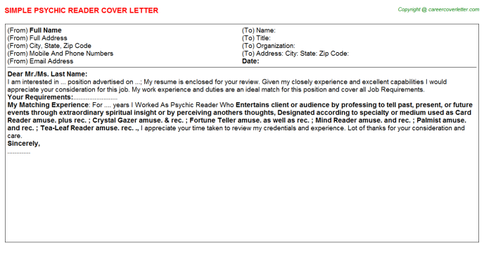 Psychic Reader Cover Letter Template