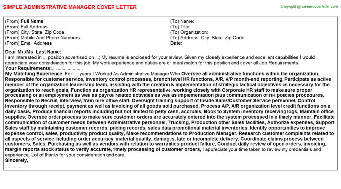 Administrative Manager Cover Letter Template
