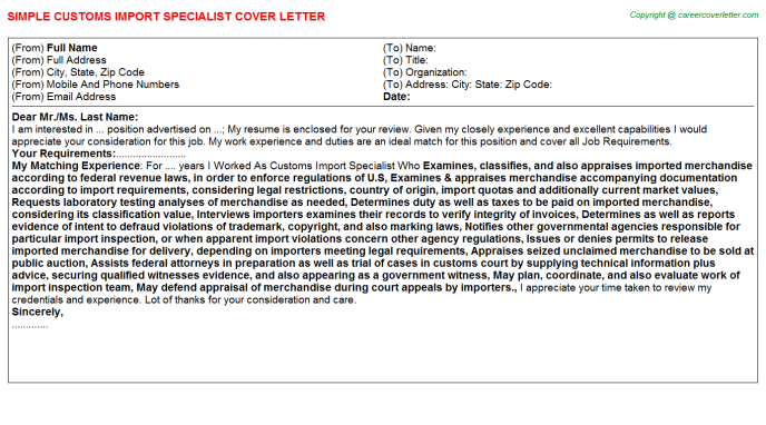 Customs Import Specialist Cover Letter Template