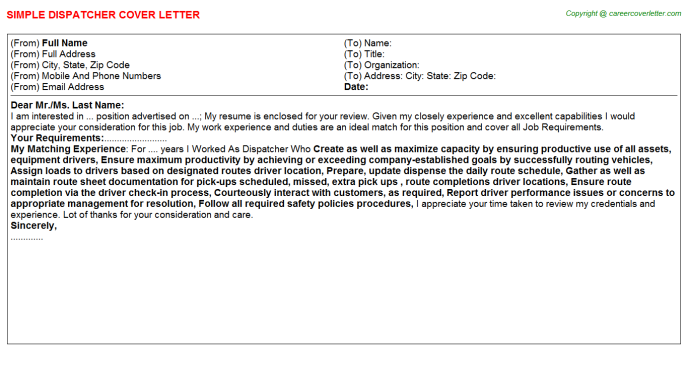 Dispatcher Cover Letter Template
