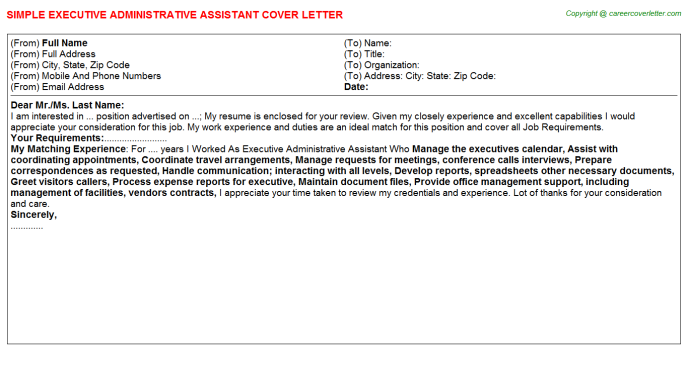 Executive Administrative Assistant Cover Letter Template