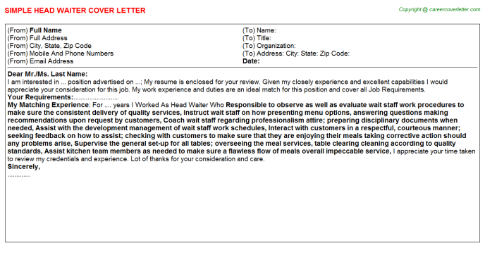 Head Waiter Cover Letter Template