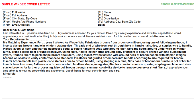 Winder Cover Letter Template