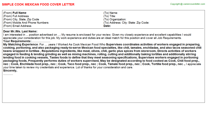 cook mexican food cover letter template