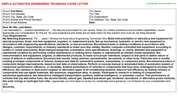 Automotive Engineering Technician Job Cover Letter | Cover Letters