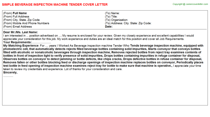 beverage inspection machine tender cover letter template