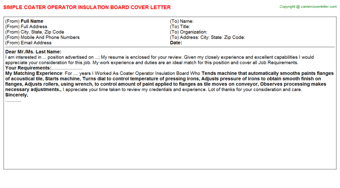 coater operator insulation board cover letter template