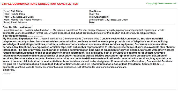 Communications Consultant Job Cover Letter