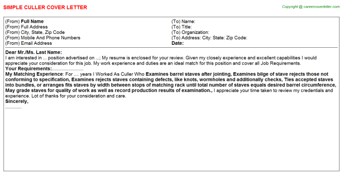Culler Cover Letter Template