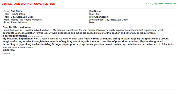 Hand Worker Cover Letter Template