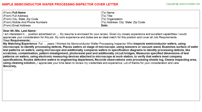 Semiconductor Wafer Processing Inspector Job Cover Letter Template