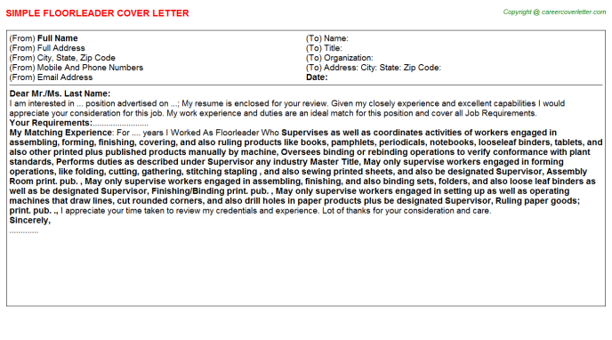Floorleader Cover Letter Template