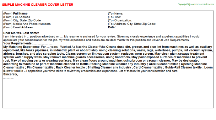 Machine cleaner job cover letter (#15431)