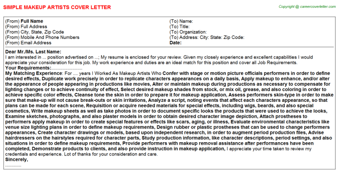Makeup Artists Cover Letter Template