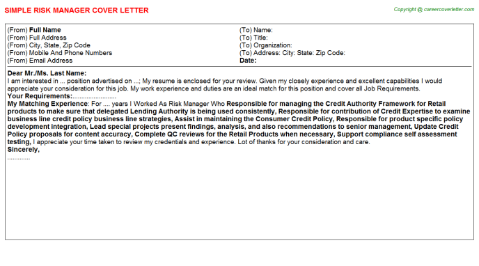 Risk Manager Cover Letter Template