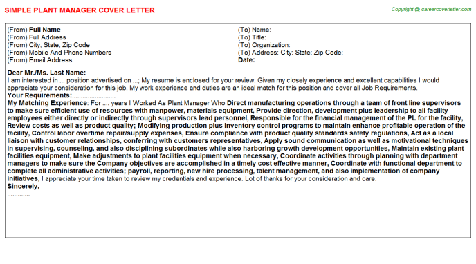 Plant Manager Cover Letter Template