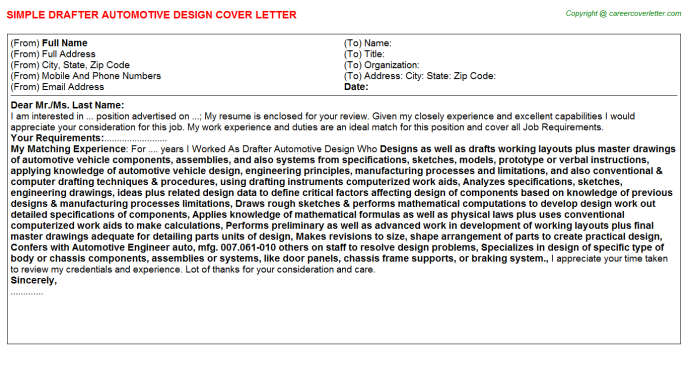 Drafter Automotive Design Job Cover Letter | Job Cover Letters