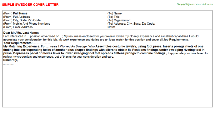 Swedger Cover Letter Template