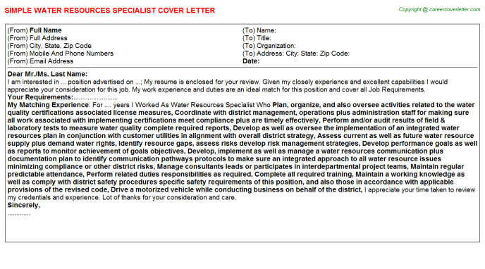 Water Resources Specialist Cover Letter