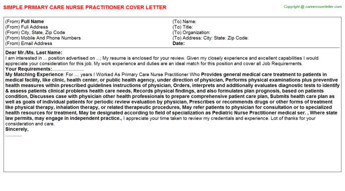 Primary Care Nurse Practitioner Cover Letter