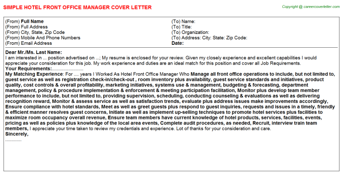 Office Manager Cover Letter