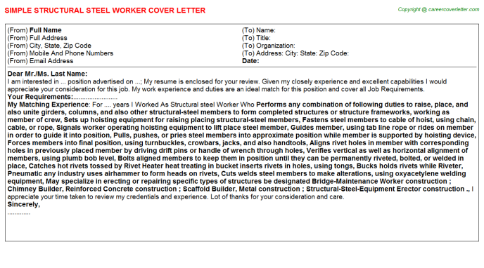 Structural Steel Worker Job Cover Letters Examples