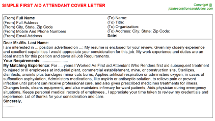 First Aid Attendant Cover Letters