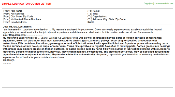 Lubricator Cover Letter Template