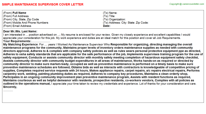 Maintenance Supervisor Cover Letter Template