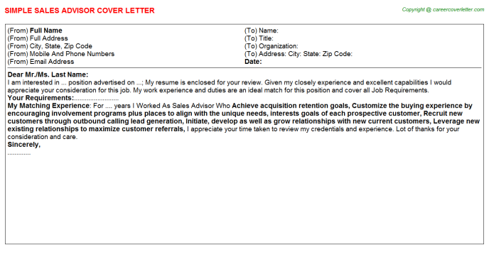 Sales Advisor Job Cover Letter Sample