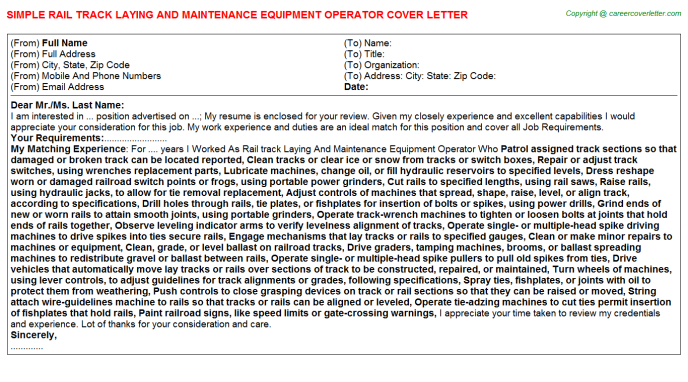 Rail Track Laying And Maintenance Equipment Operator Cover Letter Template