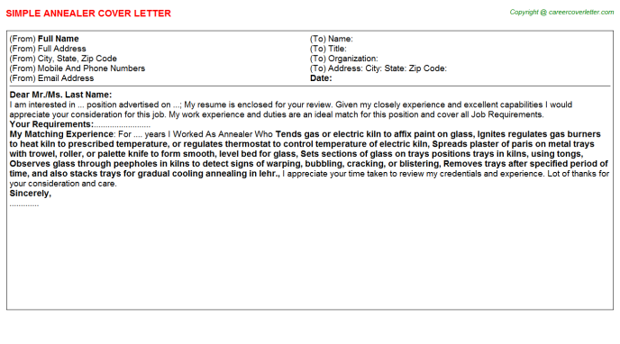 Annealer Cover Letter Template